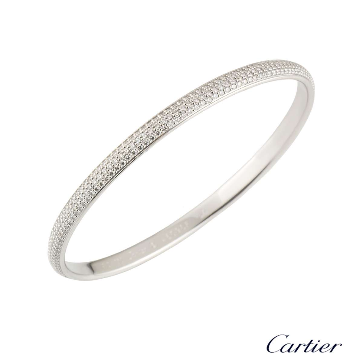 Cartier White Gold Diamond Bangle 4.05ct